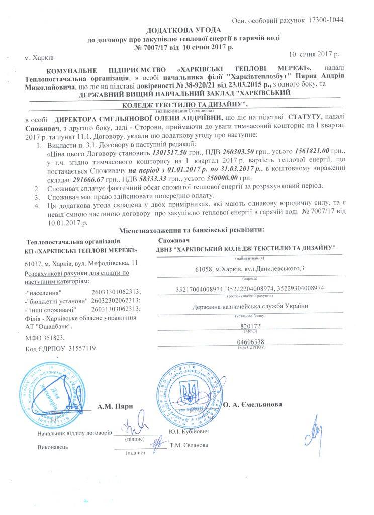 Додаткова угода до Договору 7007/17 про закупівлю теплової енергії в гарячій воді. Тимчасовий кошторис на І квартал 2017 року